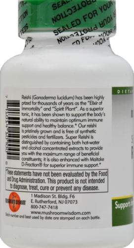 Mushroom Wisdom Super Reishi Vegetable Tablets Perspective: left