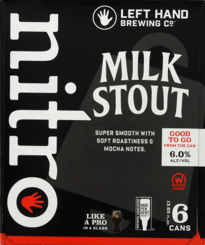 Left Hand Brewing Co. Milk Stout Nitro Beer 6 Cans Perspective: left
