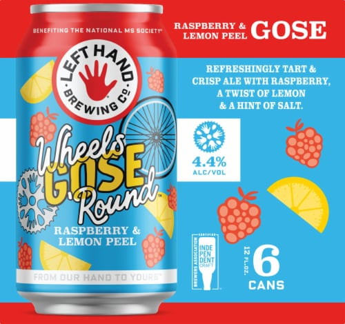 Left Hand Brewing Co. Wheels Gose 'Round Beer 6 Cans Perspective: left