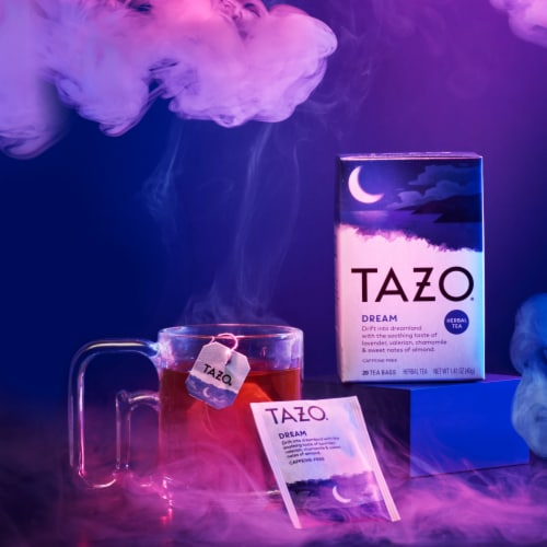Tazo Dream Caffeine Free Herbal Tea Bags Perspective: left