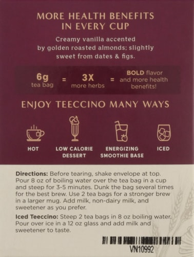 Teeccino Vanilla Nut Herbal Tee Bags Perspective: left