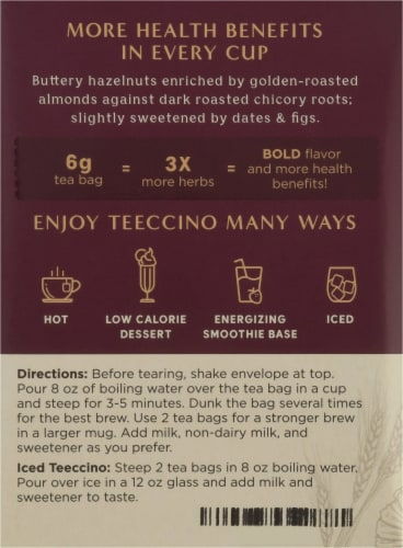 Teeccino Hazelnut Herbal Tea Bags Perspective: left