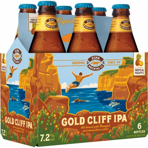 Kona Brewing Co. Tropical Pineapple Gold Cliff IPA Perspective: left