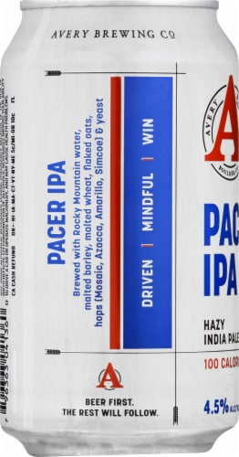 Avery Brewing Co. Pacer IPA 100 Calories Perspective: left