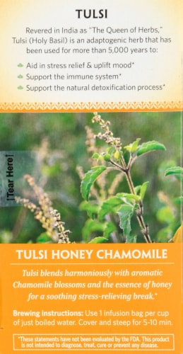 Organic India Tulsi Tea Honey Chamomile Perspective: left