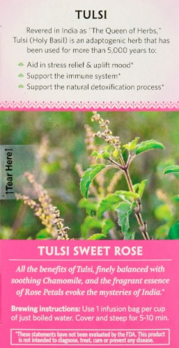 Organic India Tulsi Sweet Rose Tea Perspective: left
