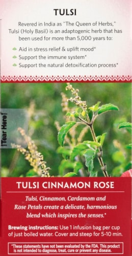 Organic India Tulsi Cinnamon Rose Tea Perspective: left