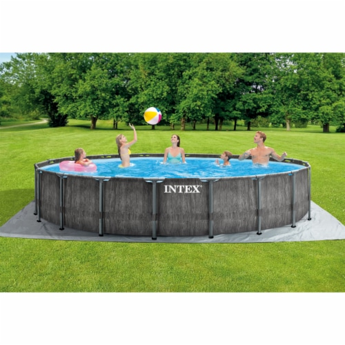 Intex Greywood Prism 18ft x 48in Frame Above Ground Swimming Pool Set with Pump Perspective: left