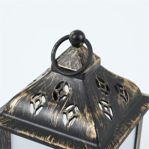 LuxenHome Weathered Black and Gold Plastic Battery-Op Table Star Light Lantern Perspective: left