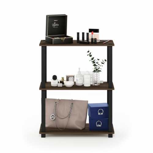 Furinno Turn-S-Tube 3-Tier Compact Shelf Display Rack with Square Tube, Walnut and Black Perspective: left