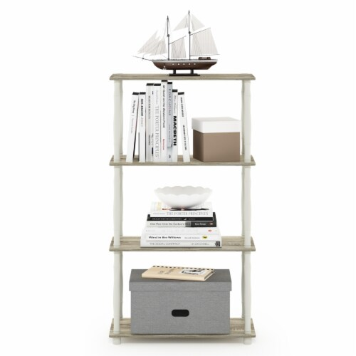 Furinno Turn-N-Tube 4-Tier Shelf Display Rack with Classic Tubes, Sonoma Oak and White Perspective: left