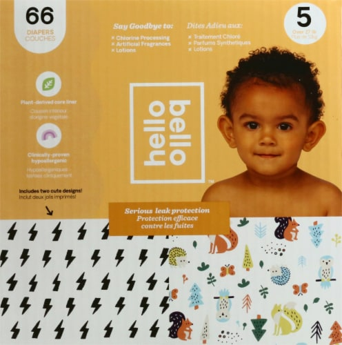 Hello Bello Bolt Babes & Woodland Animals Print Size 5 Diapers Perspective: left