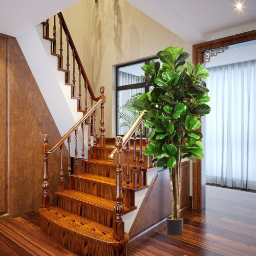 Gymax 6-Feet Artificial Fiddle Leaf Fig Tree Indoor-Outdoor Home Decorative Planter Perspective: left