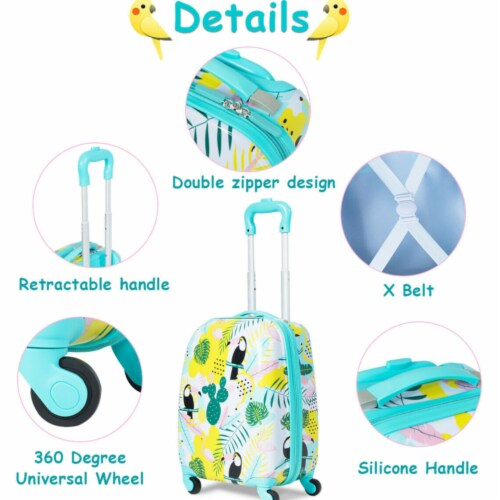 Gymax 2PC Kids Luggage Set Backpack & Rolling Suitcase Travel ABS Flamingos Perspective: left