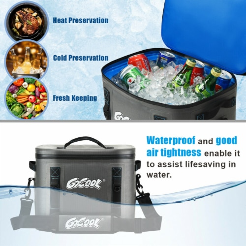Gymax 30 Cans Soft Portable Cooler Bag Leak-Proof Insulated Water-Resistant For Picnic Perspective: left