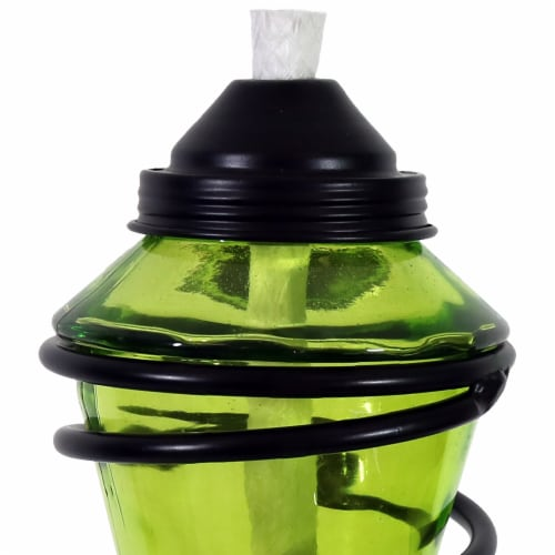 Sunnydaze 2-in-1 Metal Swirl with Green Glass Outdoor Lawn Torch - Set of 2 Perspective: left
