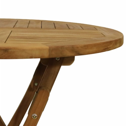 Sunnydaze Folding Round Teak Outdoor, Outdoor Foldable Round Dining Table