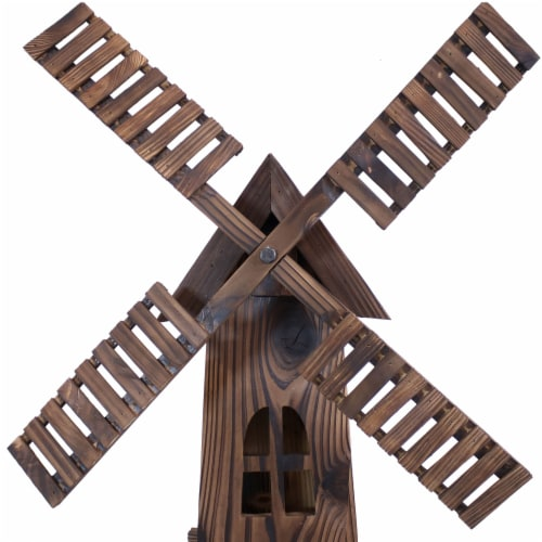 Sunnydaze Outdoor Decorative Wood Dutch Windmill - Lawn Decor - 34-Inch Perspective: left