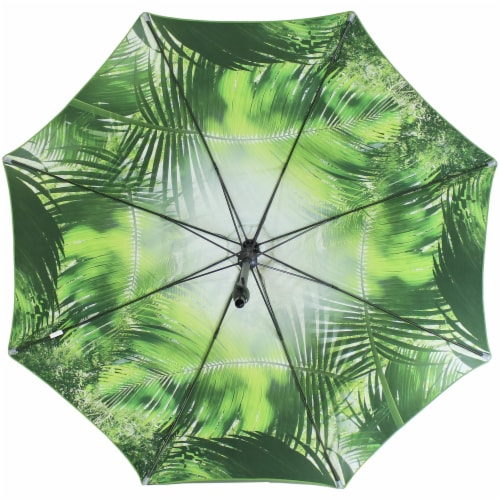 Sunnydaze Patio Market Umbrella Green with Tropical Leaf Design - 8-Foot Perspective: left