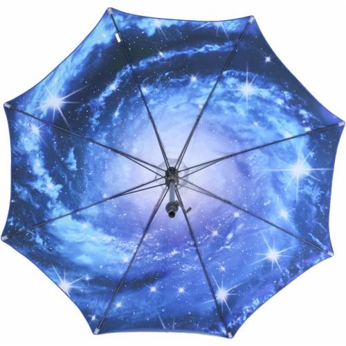 Sunnydaze Patio Market Umbrella Blue Starry Galaxy Design - Aluminum - 8-Foot Perspective: left