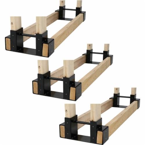 Sunnydaze DIY Log Rack Brackets Kit Steel Outdoor Adjustable Storage - Set of 3 Perspective: left