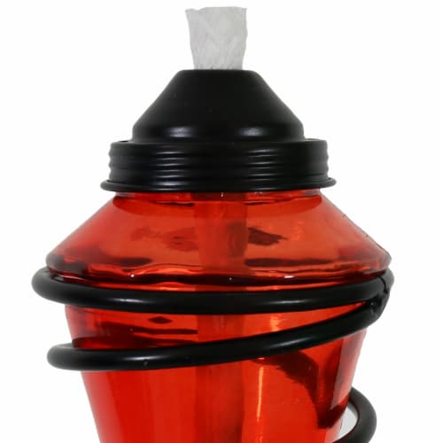Sunnydaze 2-in-1 Swirling Metal Glass Outdoor Lawn Torch Set of 4 - Red Perspective: left