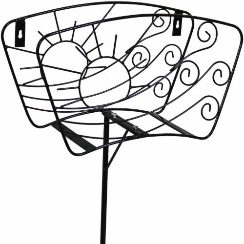 Sunnydaze Metal Garden Hose Stand - Windblown Sunrise Wire Design - 43-Inch Perspective: left