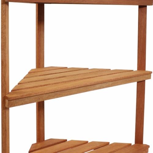 Sunnydaze Meranti Wood Teak Oil Finish 3-Tier Indoor/Outdoor Corner Plant Stand Perspective: left