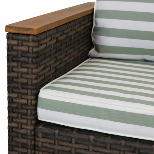 Sunnydaze Kenmare 4-Piece Patio Furniture Set - Rattan and Acacia with Cushions Perspective: left