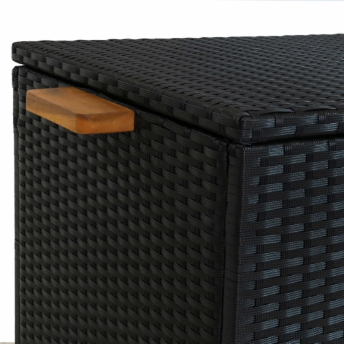 Sunnydaze Outdoor Storage Deck Box with Acacia Handles - Black Resin Rattan Perspective: left