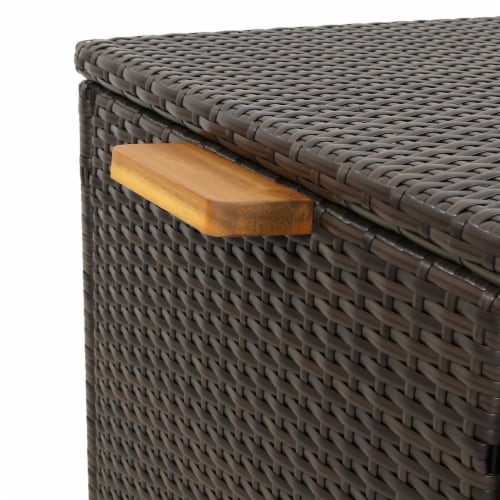 Sunnydaze Outdoor Storage Deck Box with Acacia Handles - Brown Resin Rattan Perspective: left