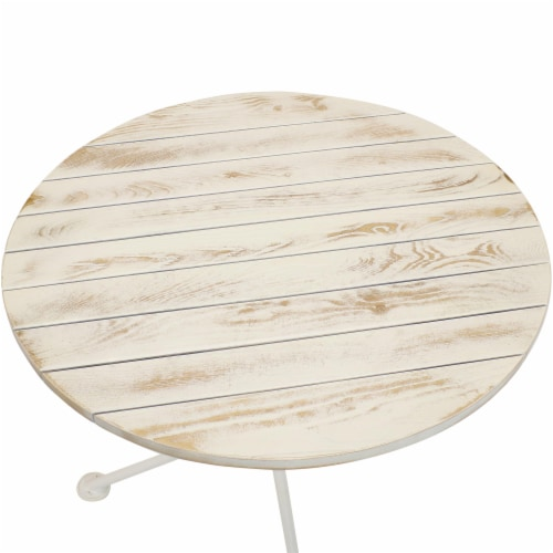 Sunnydaze French Country European Chestnut White Bistro Table - 28-Inch Round Perspective: left