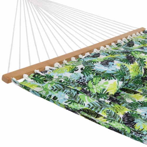 Sunnydaze 2-Person Fabric Spreader Bar Hammock and Pillow - Tropical Greenery Perspective: left