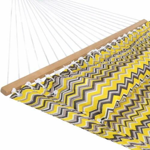 Sunnydaze 2-Person Fabric Spreader Bar Hammock and Pillow - Yellow Gray Chevron Perspective: left