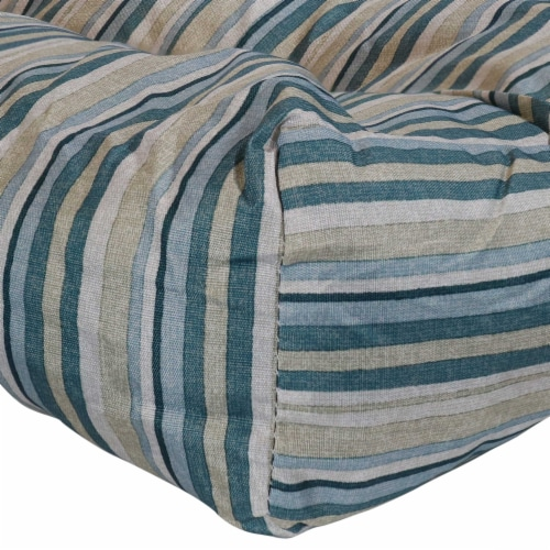 Sunnydaze Set of 2 Tufted Outdoor Seat Cushions - Neutral Stripes Perspective: left