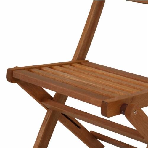 Sunnydaze Meranti Wood 5-Piece Outdoor Folding Patio Dining Set Perspective: left