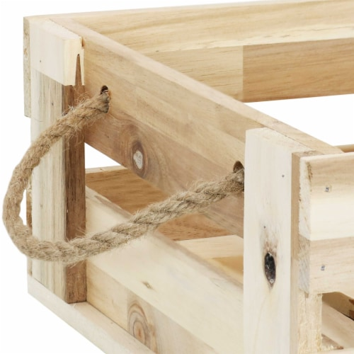 Sunnydaze Rectangle Acacia Wood Trays with Handles - Set of 3 Perspective: left