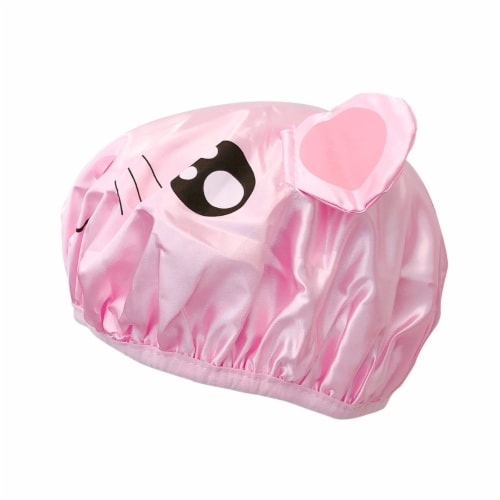 Wrapables Fun Double Layer Waterproof Shower Caps for Kids (Set of 2), Animal Ears Perspective: left