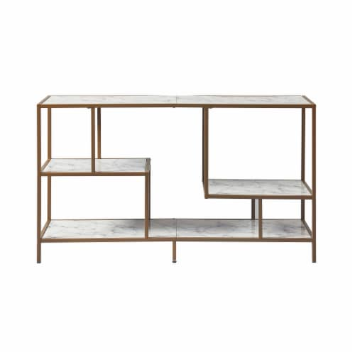 Versanora Wooden TV Stand Unit With Faux Marble/Brass Finish Marmo VNF-00084 Perspective: left