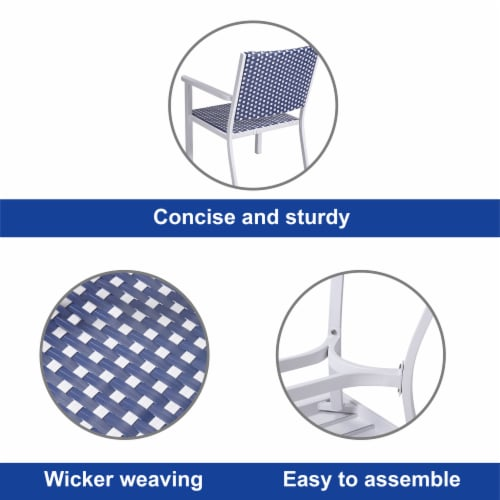 Peaktop Patio Furniture Set Table & 4 Chair White Blue Wicker Coastal PT-OF0002 Perspective: left