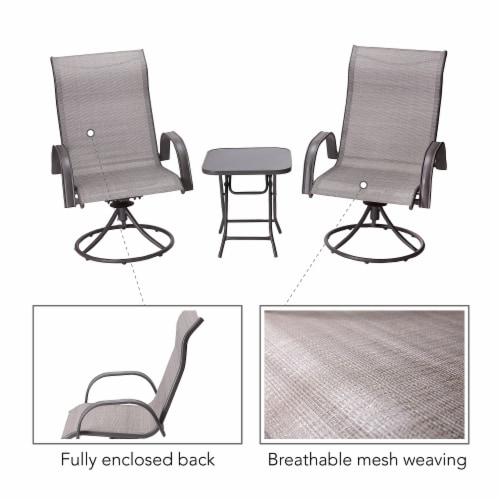 Peaktop Patio Furniture Set Garden Table & 2 Chairs Gray Bistro Set PT-OF0003 Perspective: left