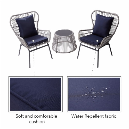 Peaktop Patio Furniture Set Table & 2 Chairs Blue & Gray Wicker PT-OF0006 Perspective: left