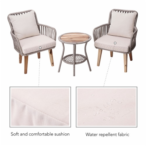 Peaktop Patio Furniture Set Table & 2 Chairs Wicker Bistro Set Brown PT-OF0008 Perspective: left