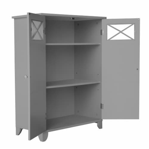 Elegant Home Fashions Wooden Bathroom Cabinet Standing Grey Dawson EHF-6841G Perspective: left