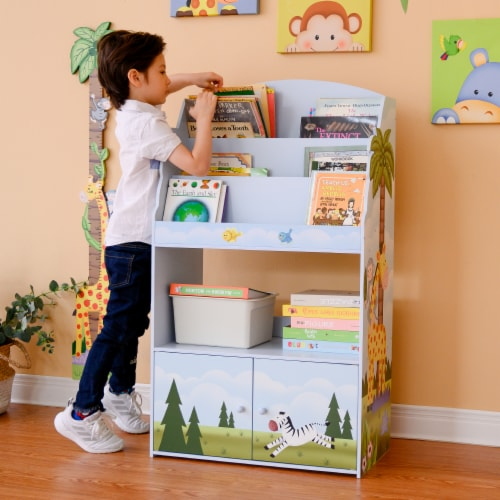 Fantasy Fields Kids Wooden Bookcase 3 Tier & Drawer Sunny Safari TD-13394SS Perspective: left