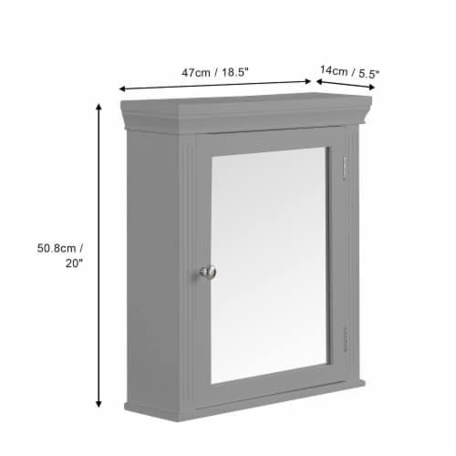 Elegant Home Fashions Wooden Bathroom Medicine Cabinet Mirror Grey EHF-6544G Perspective: left