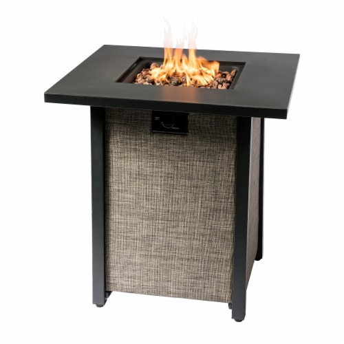 Peaktop Firepit Outdoor Gas Fire Pit Metal Fabric, Lava Rock, Cover HF28201AA Perspective: left