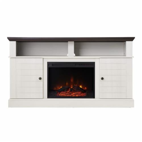 "Versanora 60"" Fireplace TV Stand Unit & Remote 23"" Insert White Eliana VNF-00100 Perspective: left"