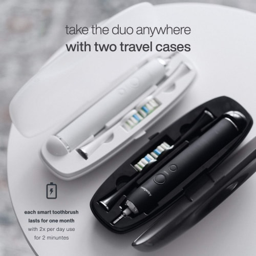 AquaSonic Duo PRO - Dual Handle Ultra Whitening Electric ToothBrushes, 2 pk Perspective: left