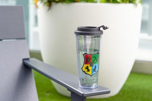 Harry Potter Hogwarts Crest 24oz Double Walled Plastic Travel Mug Perspective: left
